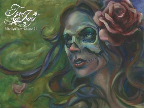 Gypsy Skull Lady Painting by TeeJay