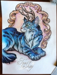 Antlered Cat drawing by TeeJay