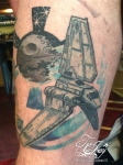 Imperial Shuttle and Death Star tattoo