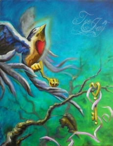 Letting Go - bird painting by TeeJay