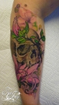 Magnolia skull tattoo by TeeJay