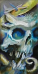 Skull & dragonfly oil painting by TeeJay