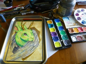 Jackalope watercolor in progress