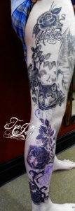 Wolf Vine with Roses tattoo