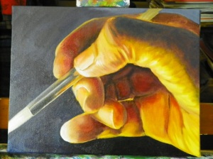 stage photo of hand painting