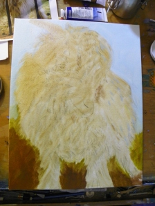 Wok in Progress oil painting goat