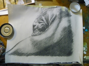 charcoal drawing (in reverse) seal