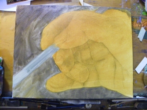 work in progress oil painting of hand