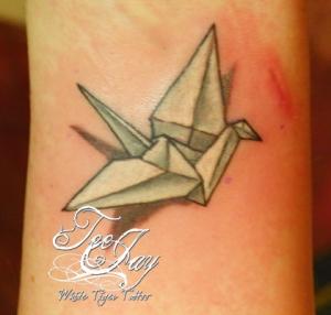 paper crane tattoo