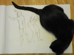 figure drawing in charcoal - plus cat