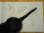 charcoal figure drawings plus cat
