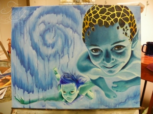 underwater kids painting