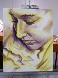 painting of Jessica in progress