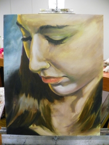 painting of Jessica in progress