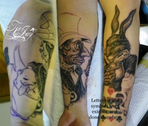 Alice in Wonderland Mad Hatter and March Hare tattoo