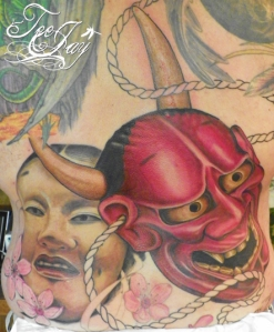 Hannya tattoo in progress