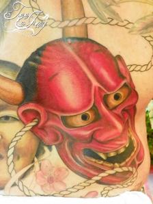 Hannya tattoo (detail) in progress