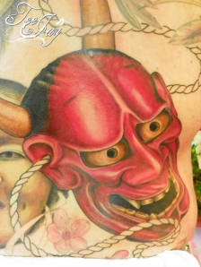Hannya tattoo (detail) in progress