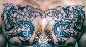 celtic dog chest tattoo