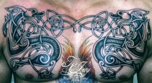 celtic dog chest tattoo
