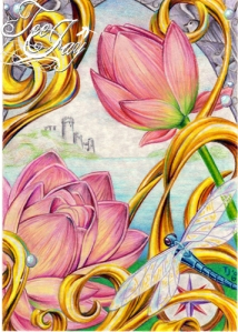 colored pencil lotus and dragonfly