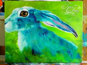 Blue Rabbit Oil Painting