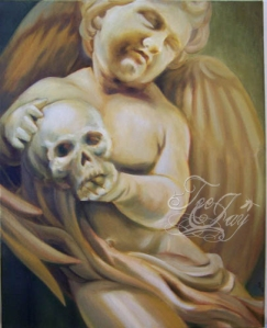 Cherub with skull painting