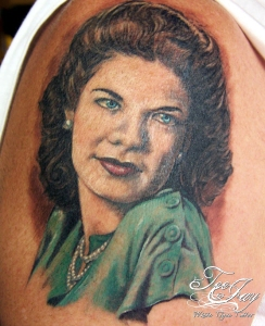 hand tinted photo portrait tattoo