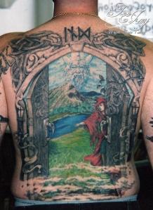 Gates of Valhalla back tattoo