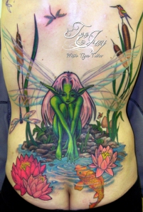 Fairy at water edge tattoo