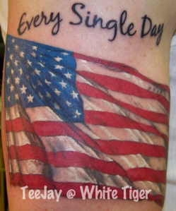 realistic flag tattoo