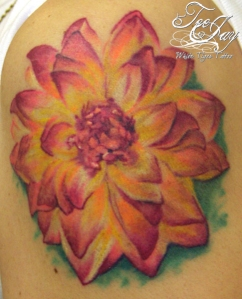 no outline flower tattoo