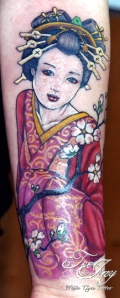 geisha cherry blossom tattoo