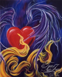 Winged heart painting