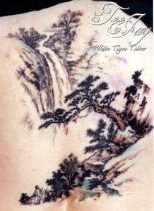 zen waterfall tattoo