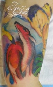 Red Deer tattoo based on artwork of Franz Marc