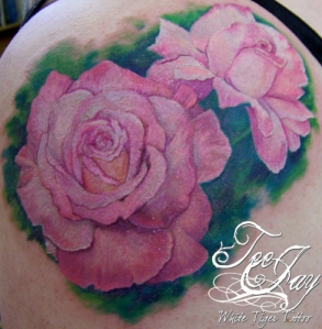pink roses tattoo