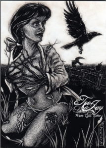 Mrs Scarecrow scratchboard