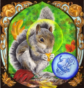 sacred squirrel watercolor