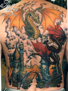 fighting dragons tattoo