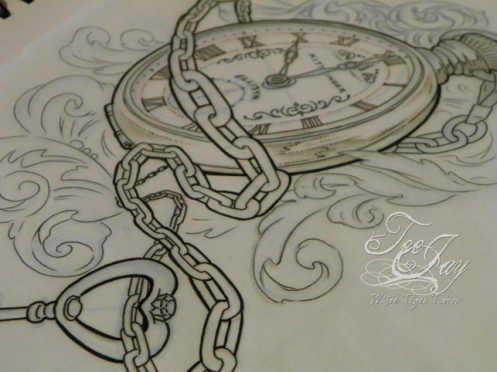 Pocket Watch line drawing