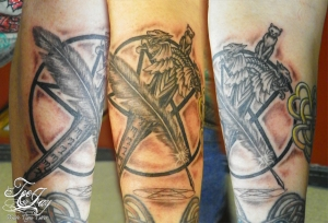 dagger,pentacle,feather,pentagram tattoo