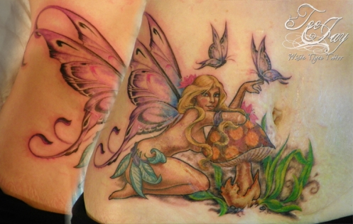fairy tattoo covering stretch marks