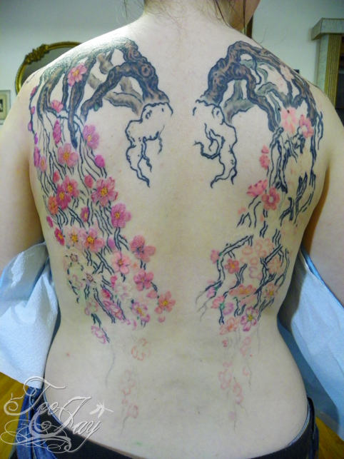 cherry blossom wing tattoo