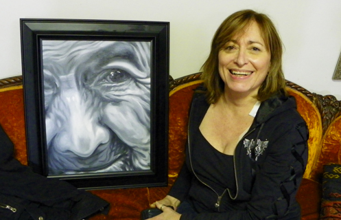Sandy with She Has Seen painting
