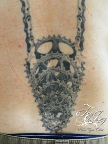 Steve Morrell bicycle tattoo detail