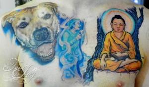 Dog, Helper Spirit and Buddha tattoo
