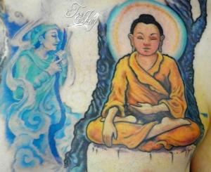 Buddha Enlightenment tattoo in progress