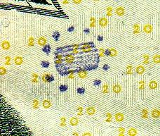 stamped on twenty dollar bill