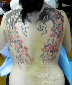 Cherry Blossom Wings tattoo in Progress
